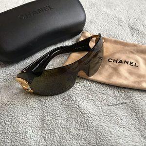 Chanel CC Rimless Shield Logo Sunglasses Brown